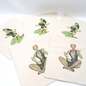 "Set of 5 Canvas 15""x 15""  Pin-Up Girl Pillowcases"